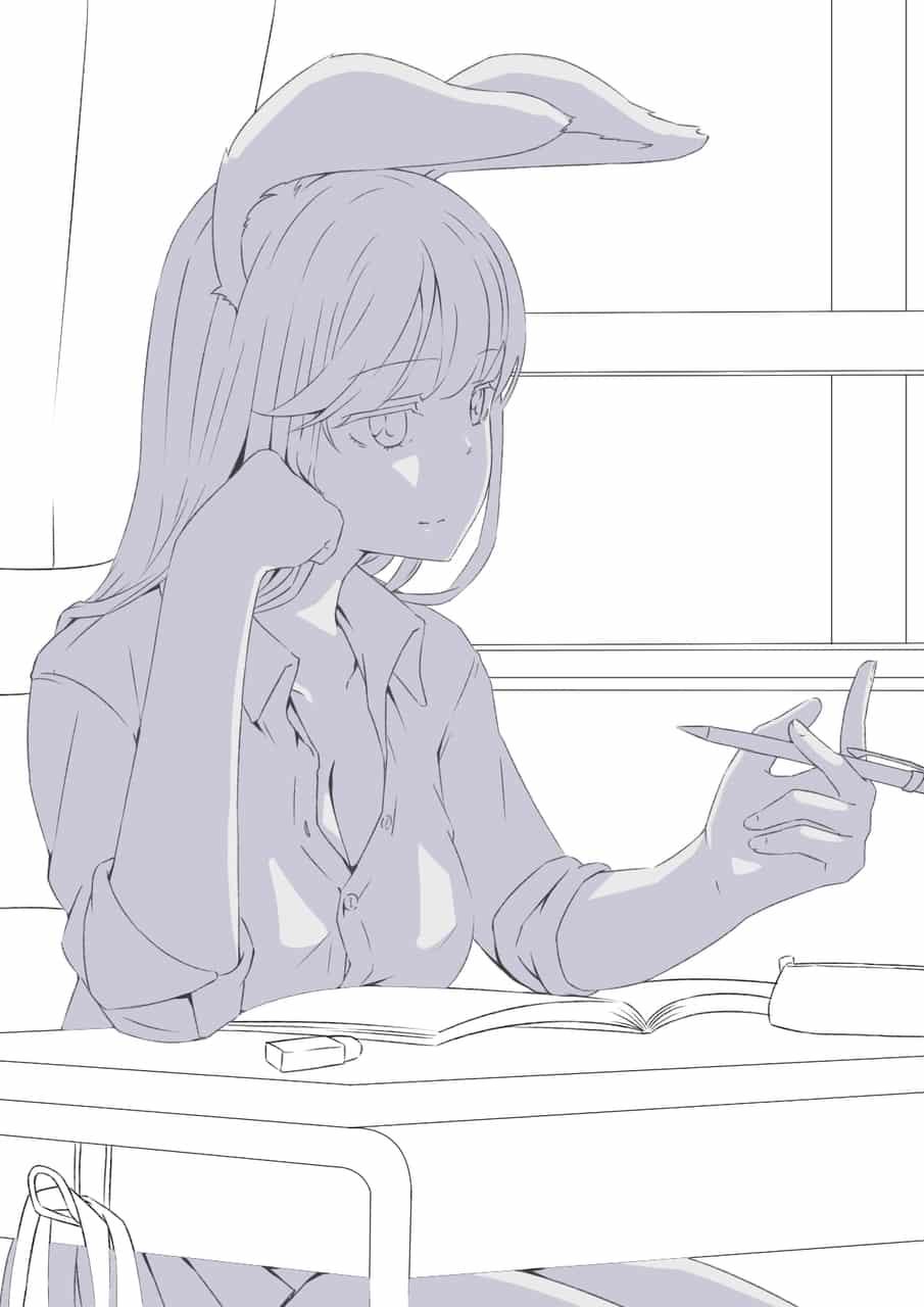 兎耳の女子高生(線画)