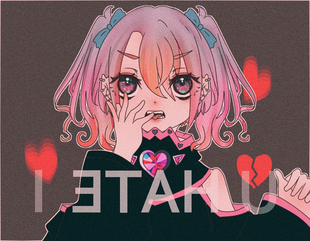 ウラガエシ Illust of Marfy girl 闇 kawaii heart pink メンヘラ 病みかわいい black 病み