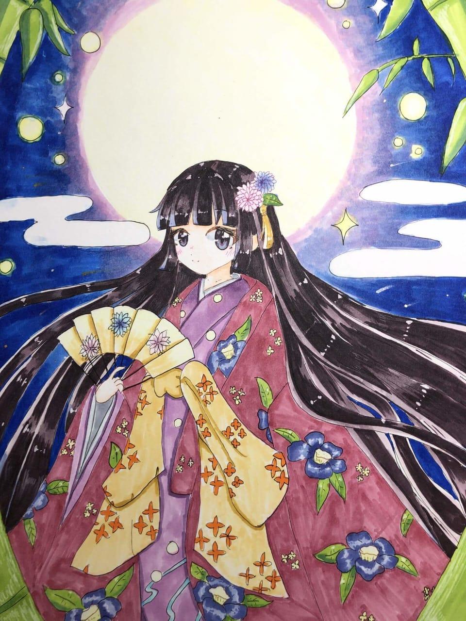 かぐや姫! Illust of むむれん アナログ むむれん kimono かぐや姫 original リメイク girl 中秋の名月 夜空 moon