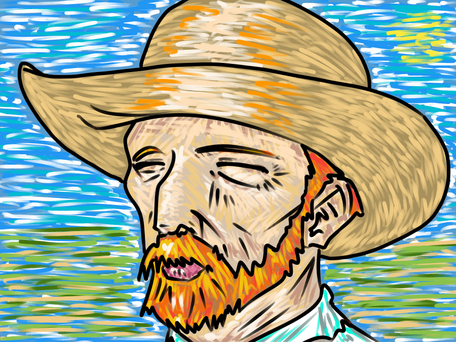 Smiling Van Gogh  Illust of Mbm85 MasterpieceFanart medibangpaint Competition fanart vangogh masterpiece entry Gogh iPadPro