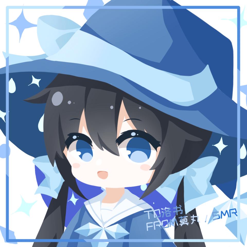 依旧是给亲友的!尝试了一下色块qwq Illust of 莫丸——!XD blue animegirl twin_ponytails oc cute original girl portrait medibangpaint chibi