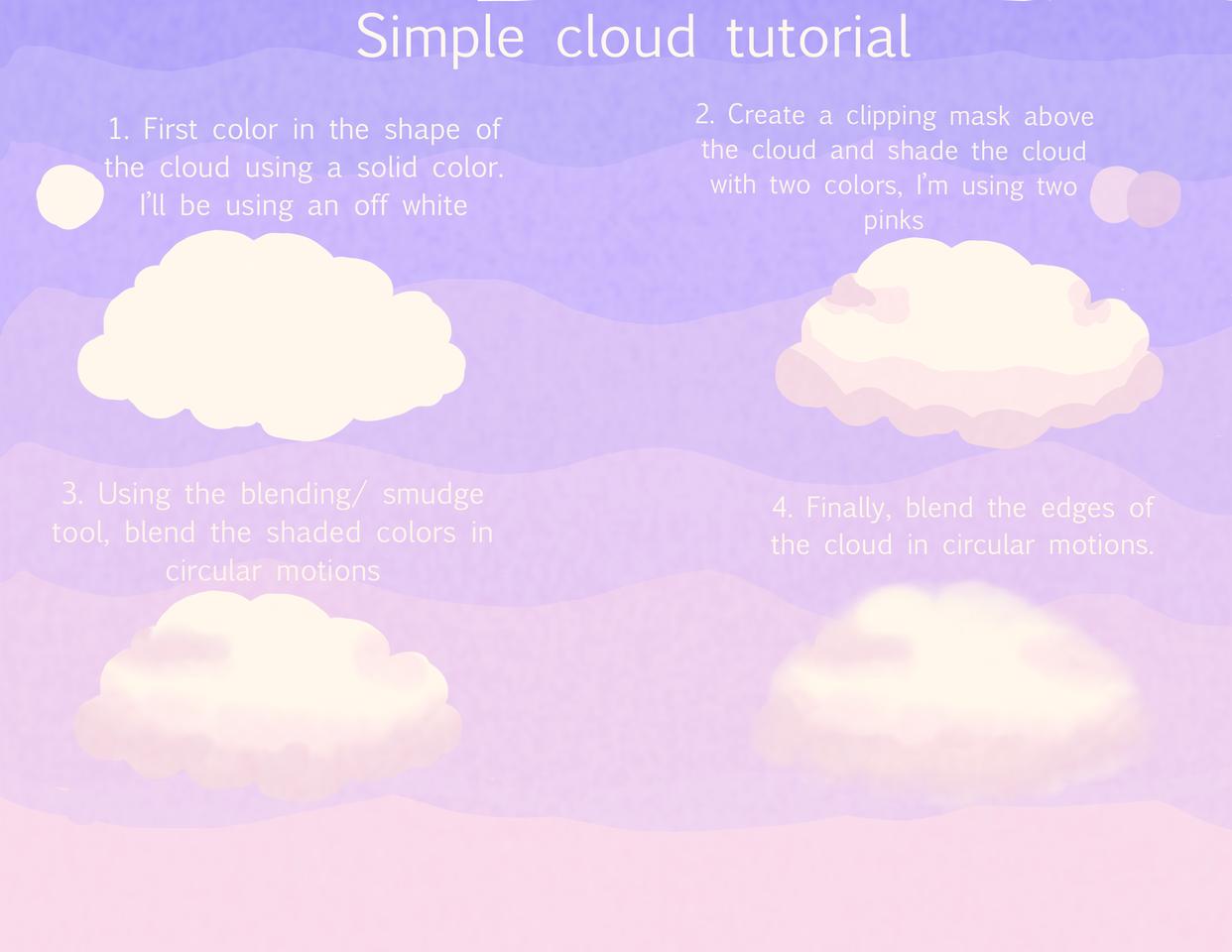 Simple cloud tutorial Illust of Moog medibangpaint purple tutorial clouds aesthetic
