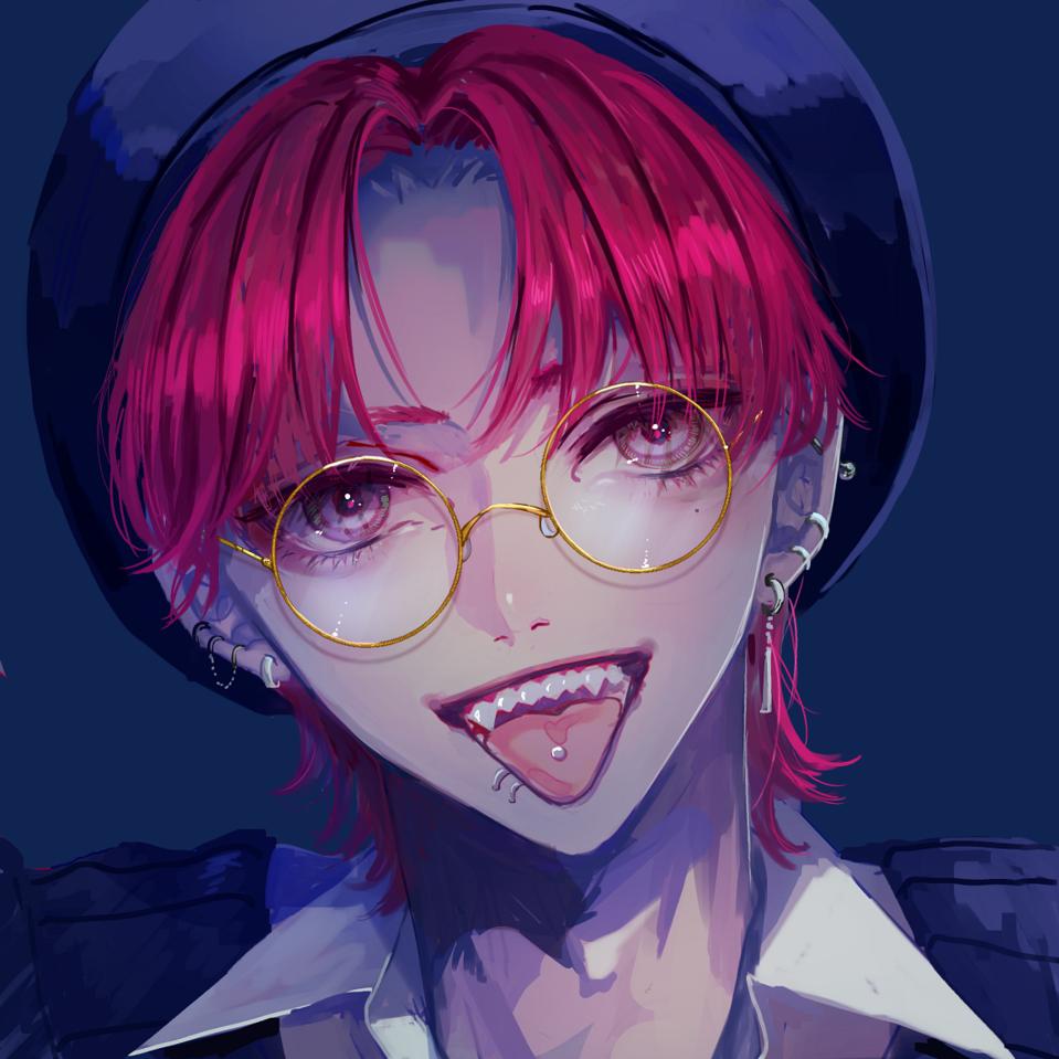 RED Illust of logA piercing original 舌ピアス boy
