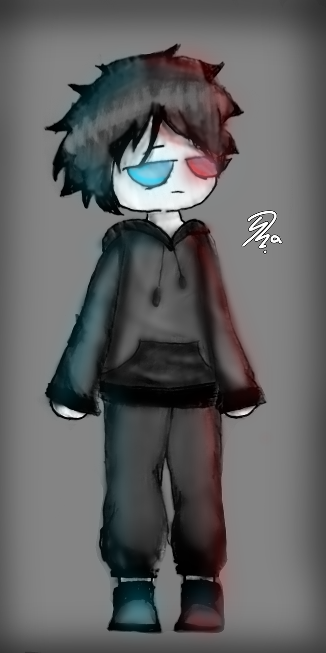 I don't know what to name him, gimme Ideas Illust of Ph@nt0m August2020_Contest:Horror MyIdealWaifu_MyIdealHusbandoContest MyIdealHusbando medibangpaint boy blue oc red