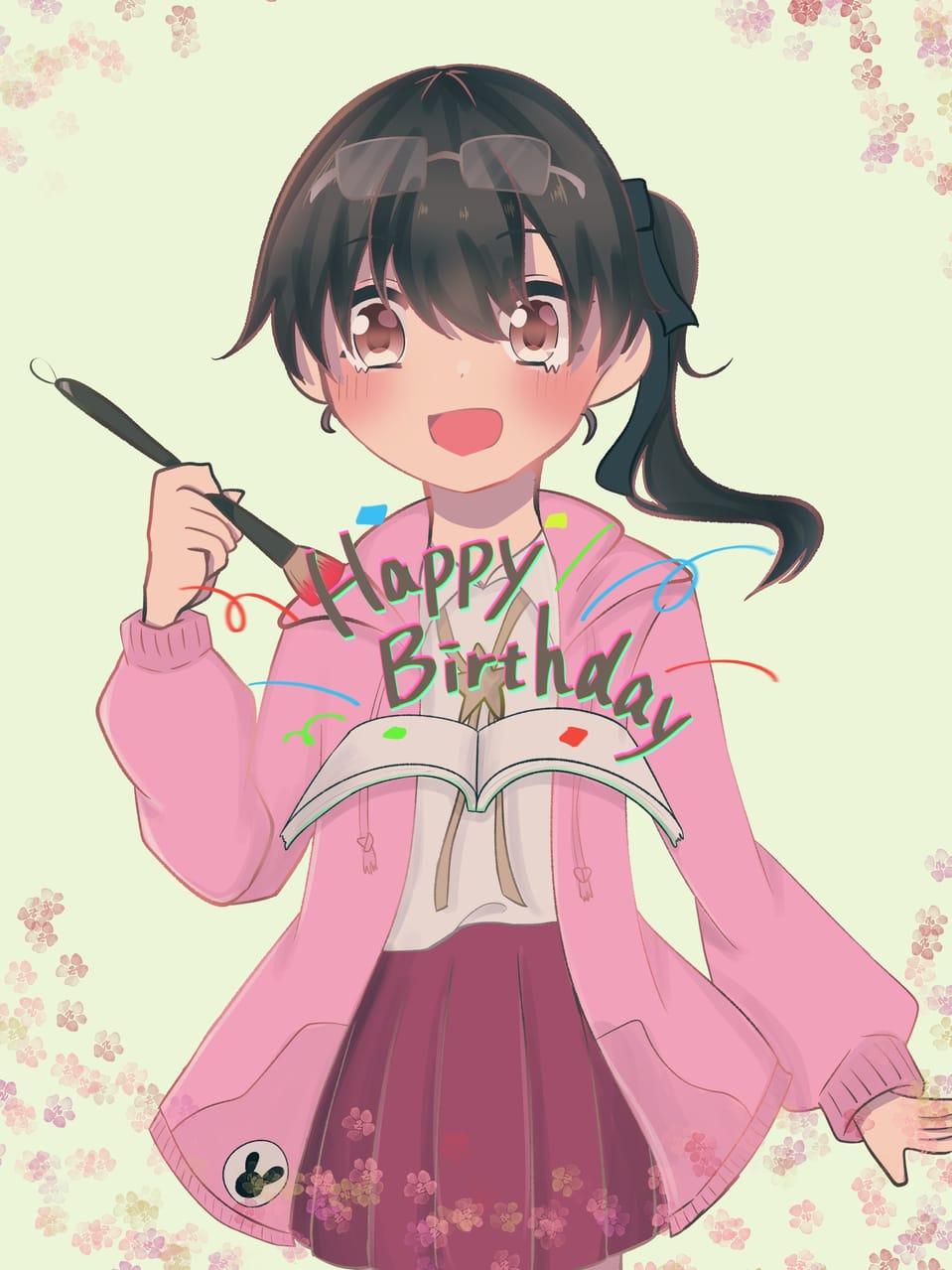 おめでとう🎉✨😆✨🎊 Illust of けいみり hoodie girl birthday medibangpaint pink えみるりあ kawaii