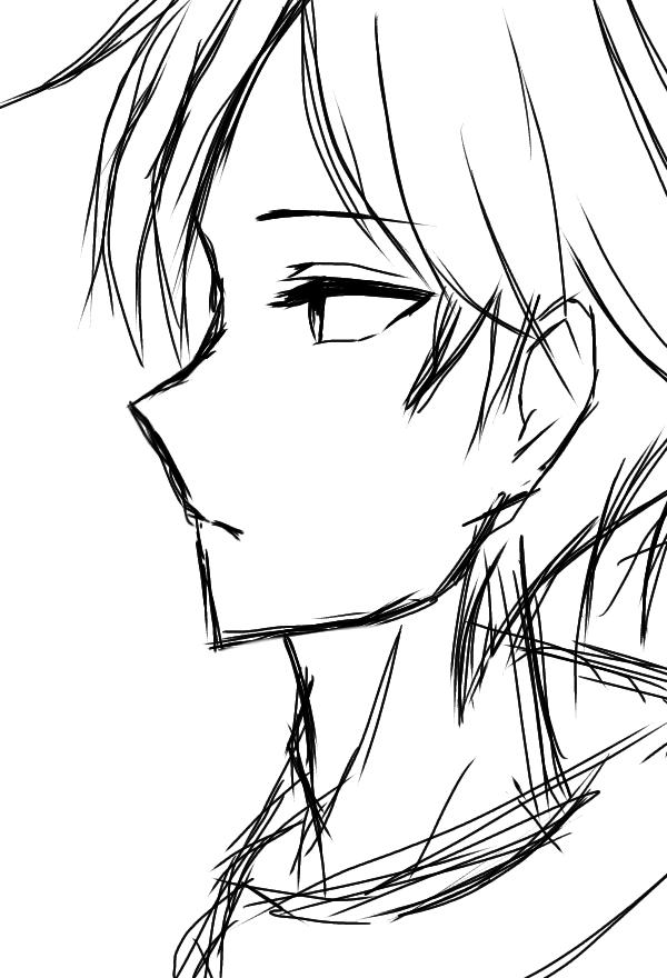 Quick Sketch Illust of Izayoi Mikasa boy sketch black digital Mii-chan(Mikasa)