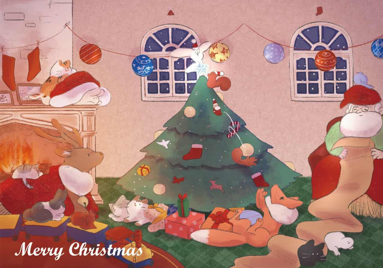 聖誕老人與小動物們