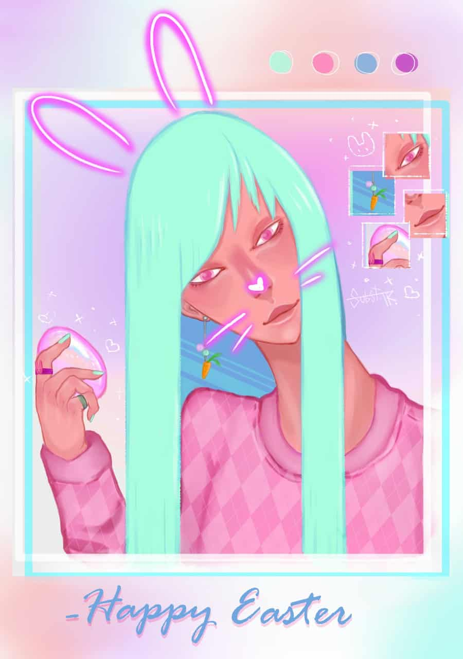 InstaBunny Illust of Subst.TR March.2020Contest:Easter boy easterbunny girl happyeaster egg bunny cute aesthetic easter pastel