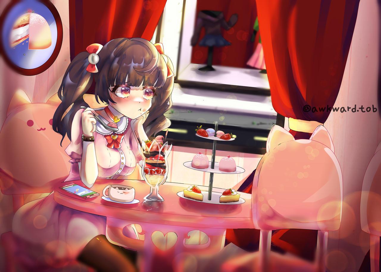 Lonely first date Illust of AwkwardTobi ARTstreet_Ranking April.2020Contest:Color illustration twin_ponytails dress anime girl cute