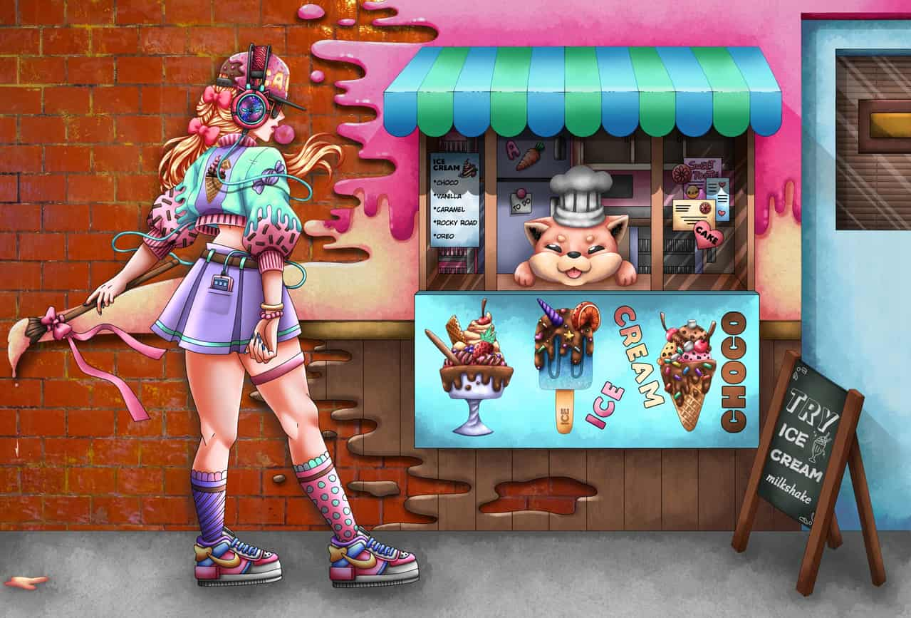 Dessert Shop Punk Pastel Girl Illust of Marlea June2020_Contest:Street_Art cute IceLogs ice-cream animegirl pastel candy anime dessert chocolate kawaii
