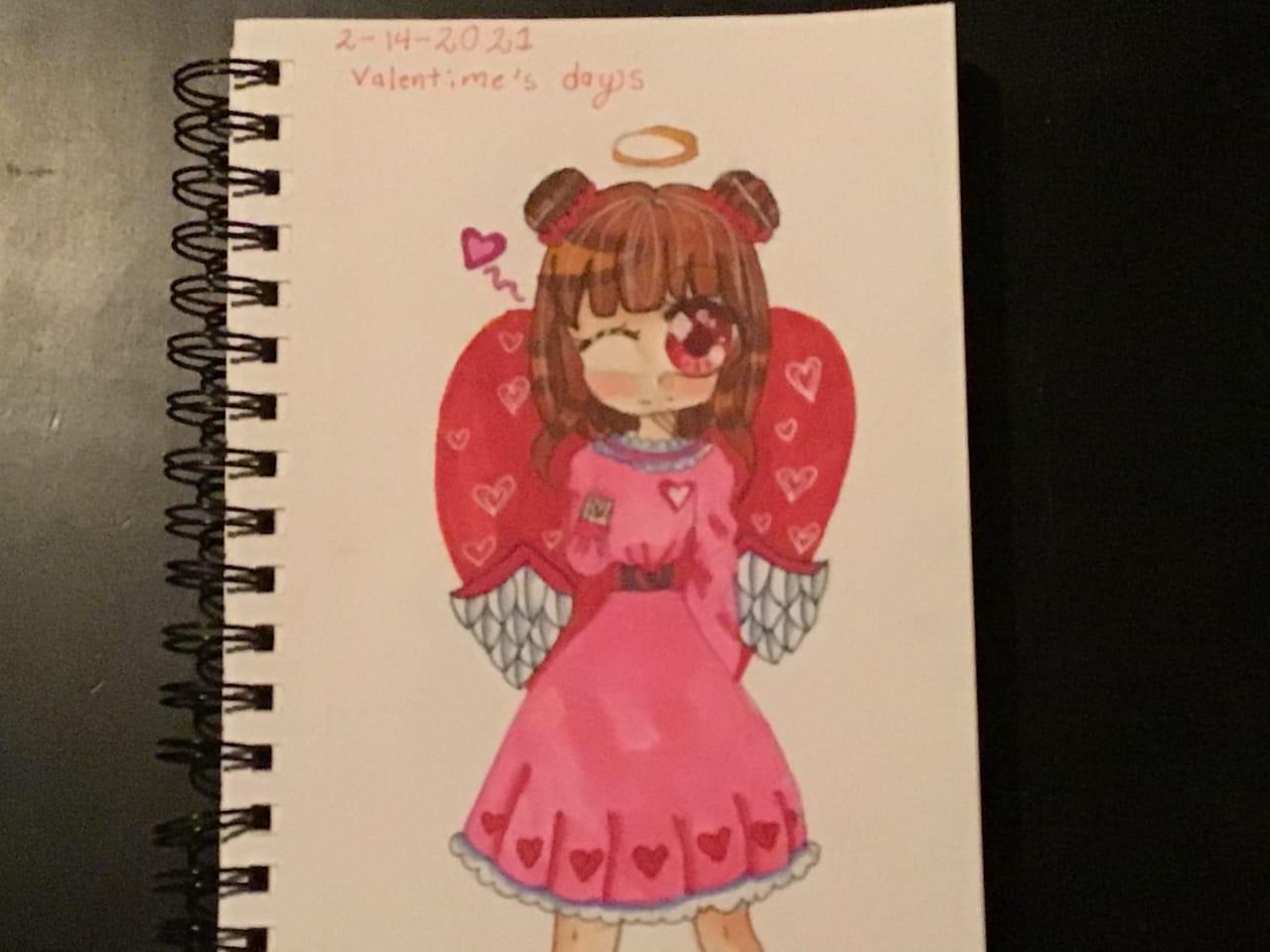 Happy Valentines Dat Illust of {Boba Leaf}🌿 medibangpaint birds 1hDrawingChallenge sketchbook oc cute ohuhu animegirl