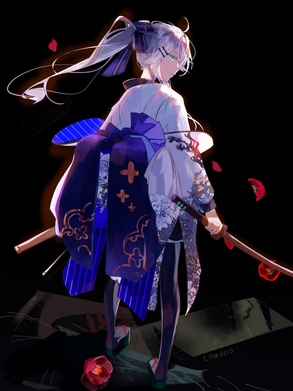 積み重なった Illust of Comuno / Ningen❸ 刀 kimono white_hair ponytail original girl flower oc