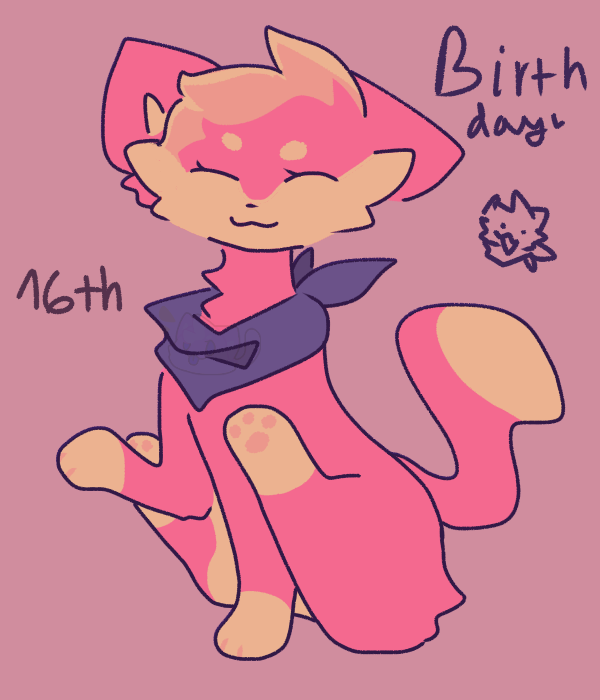 Imma borkday ( warning: colorful ) Illust of ??? rainbow cat birthday clown CindyDraw
