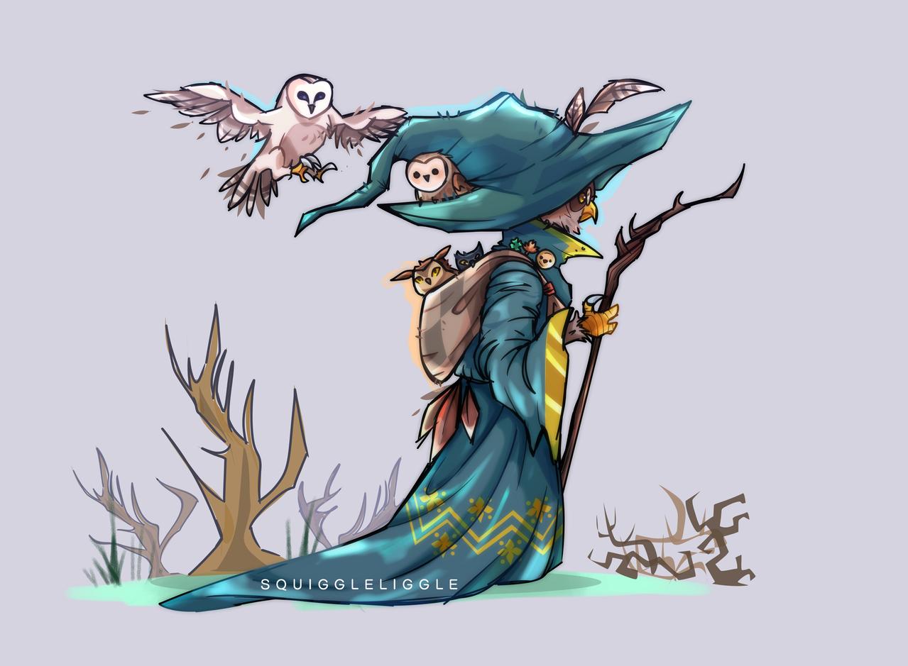Owl wizard🦉 Illust of Squiggle Liggle medibangpaint art oc original