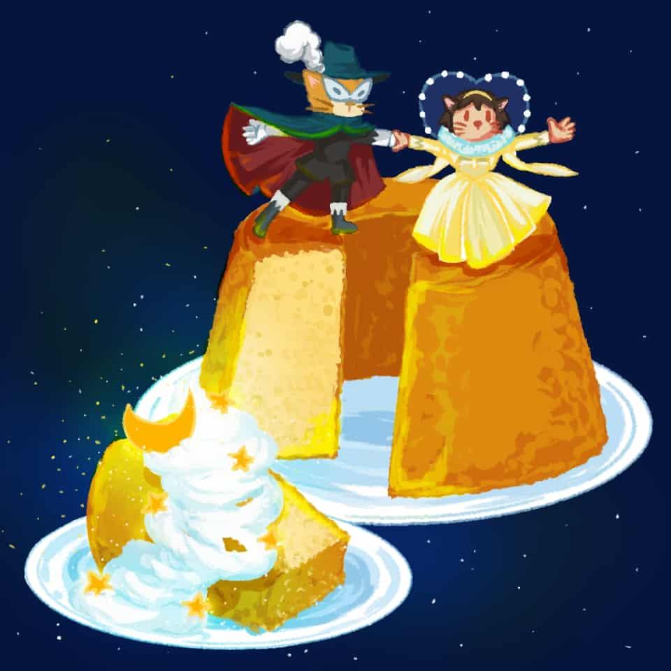 猫の恩返しのカステラ Illust of xiin_ruu_ cute illustration 猫の恩返し medibangpaint art cake