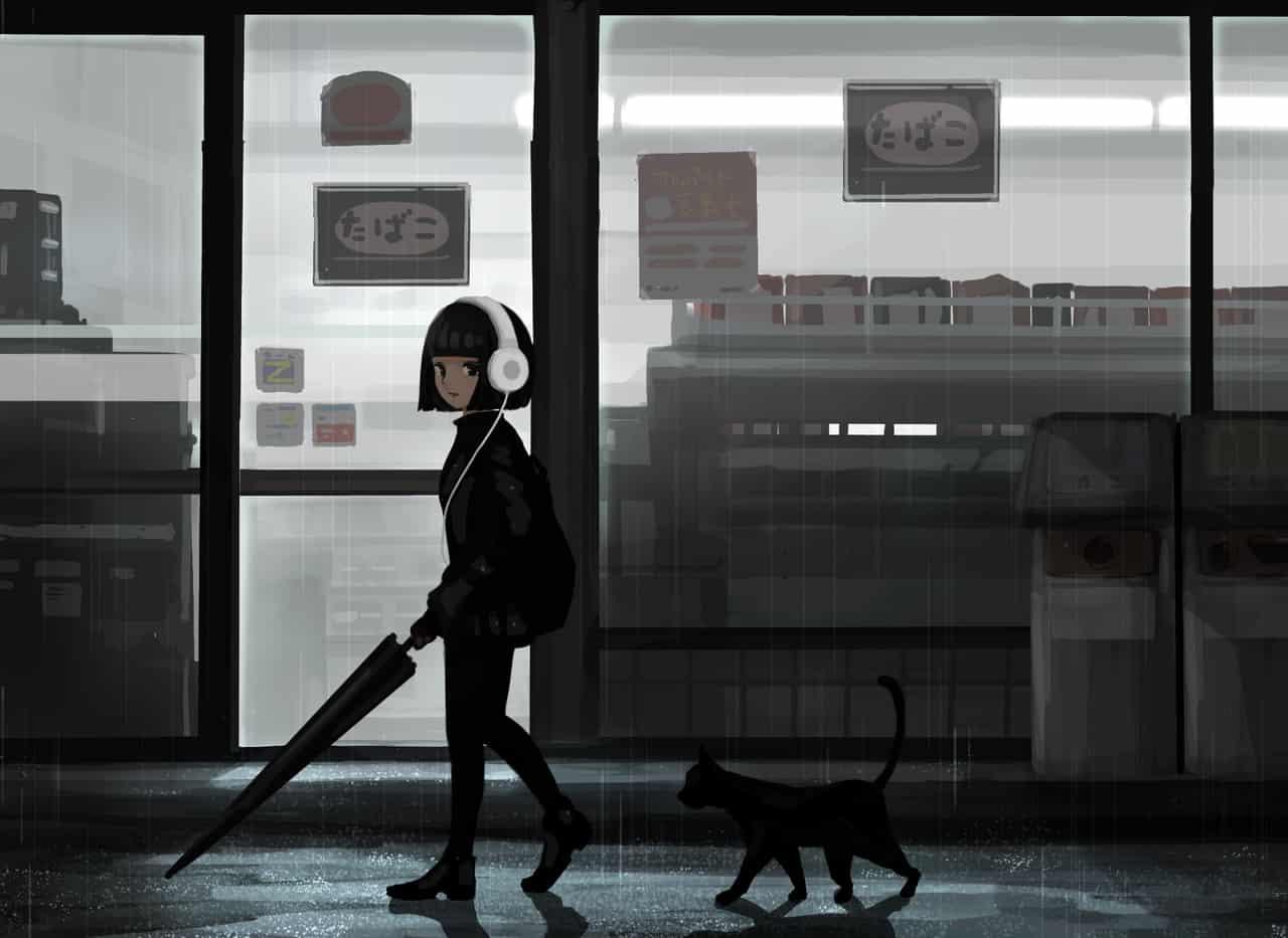 夜と猫 Illust of ついり DOGvsCAT_CAT girl original
