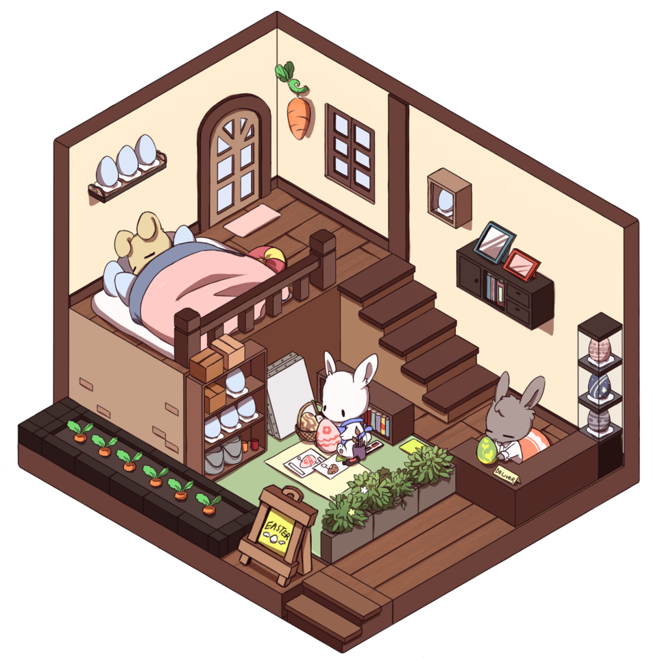 Easter Bunnies' working area Illust of QinLe March.2020Contest:Easter easter chibi isometric contest easterbunny