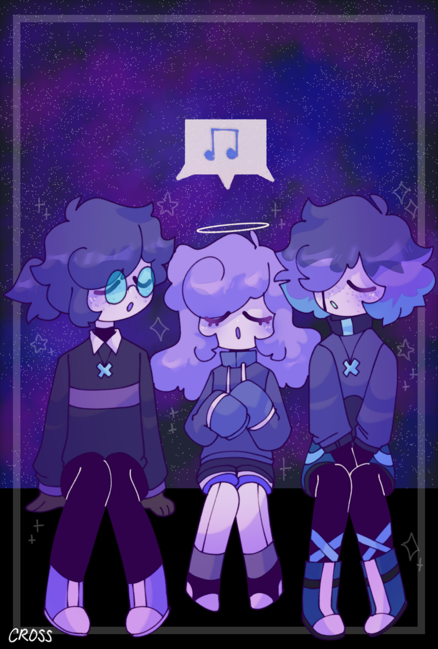 """Ghost Choir"" Illust of CrossOut drawing oc"