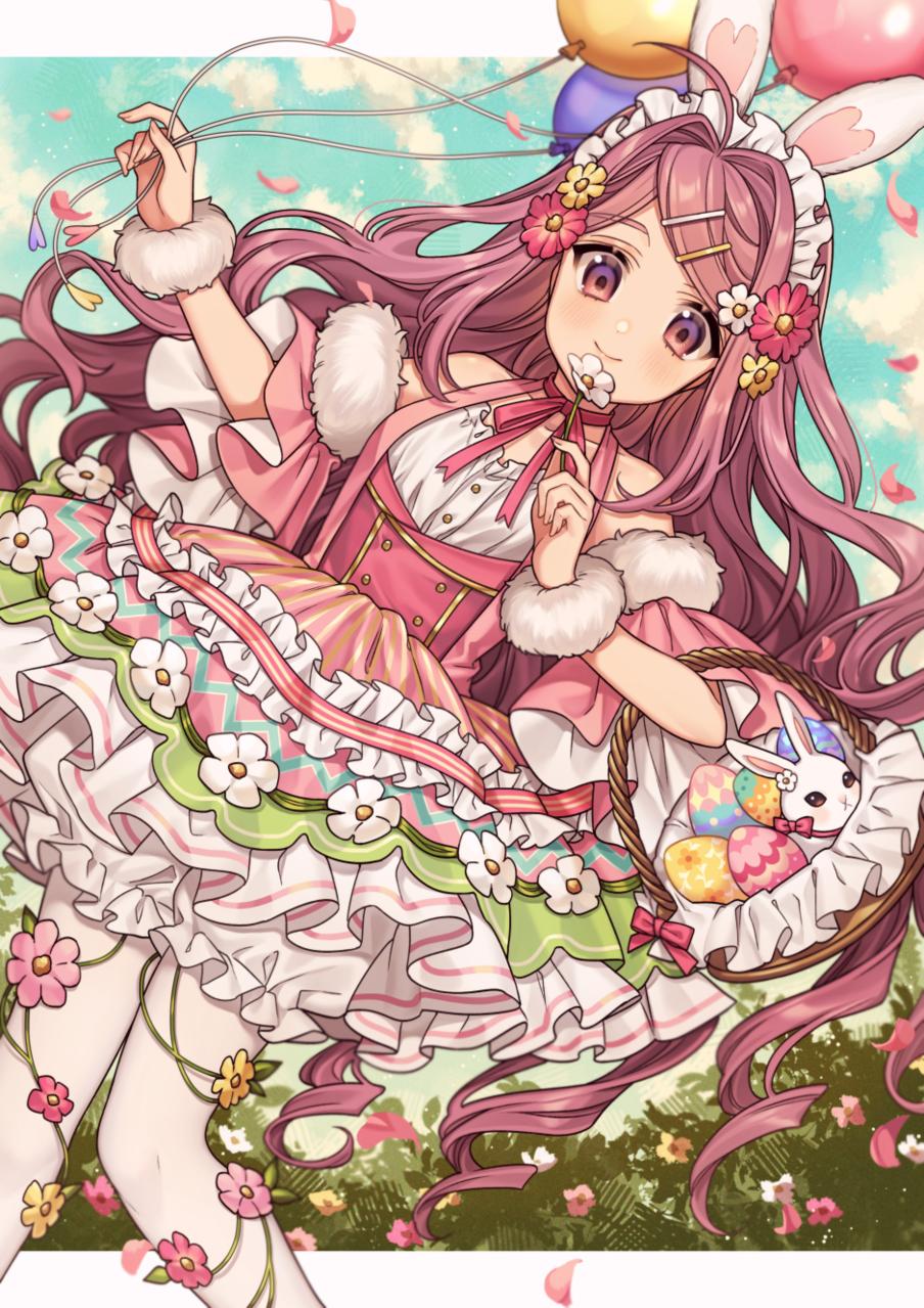 Pink Easter Illust of カロクチトセ March.2020Contest:Easter イースター original bunny