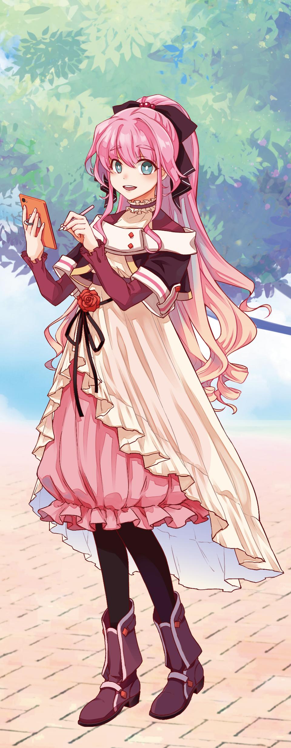 ピンクのお嬢さん Illust of やすお PASTEL_SKETCH2020 girl pink