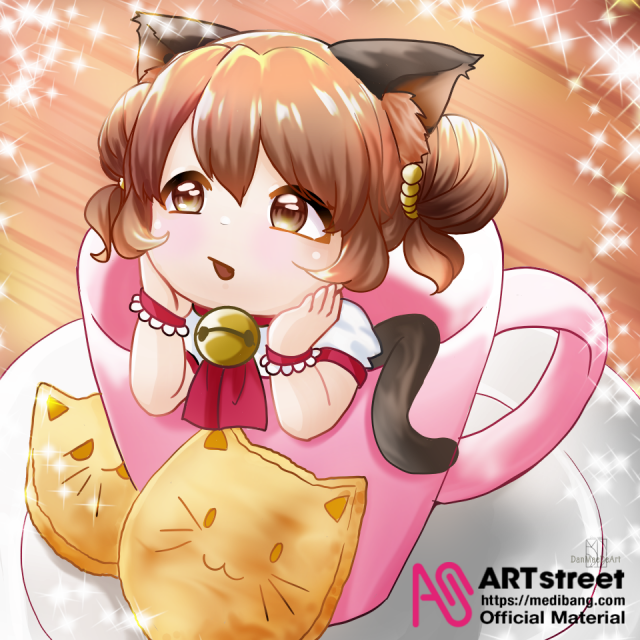 neko Illust of DanMaeDe_Arts tracedrawing3rd cookie cat cup cat_ears Trace&Draw【Official】