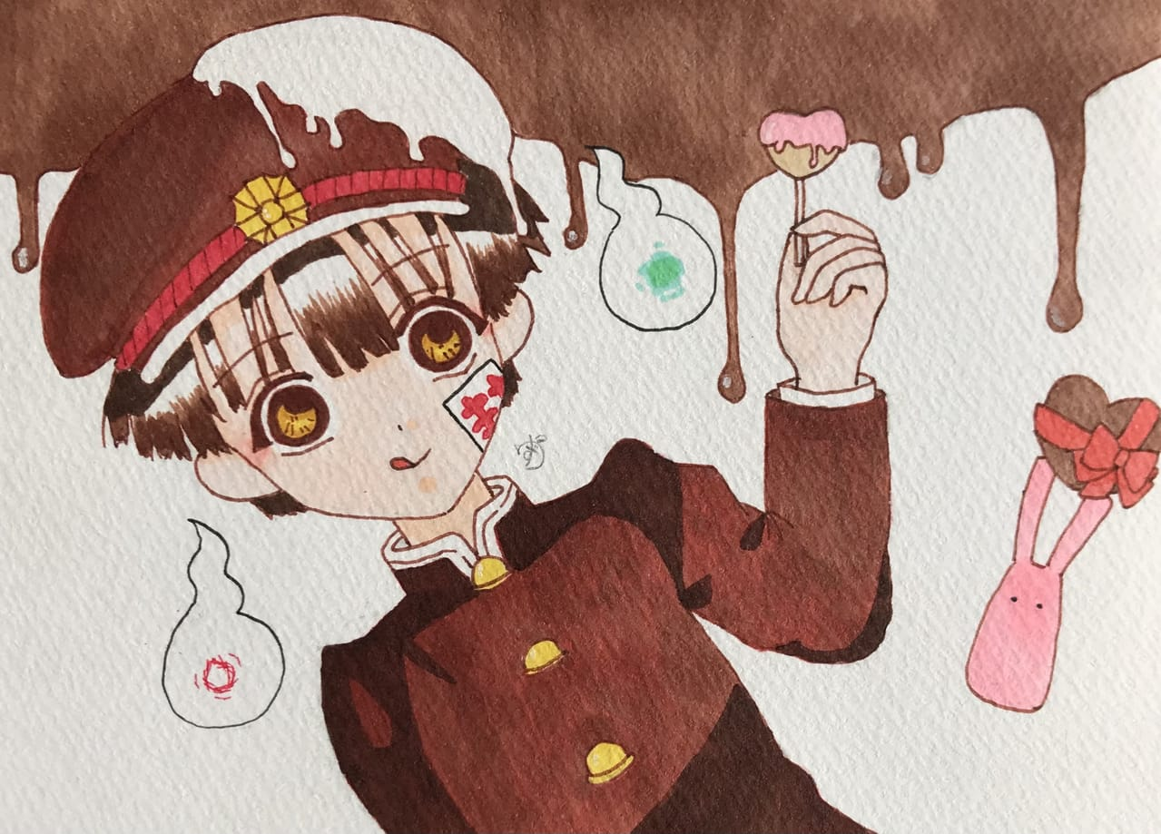 バレンタインイラスト② Illust of ゆず#最高の親友に感謝を アナログ fanfic Toilet-boundHanako-kun 花子くん Copic fanart 推し Valentine anime