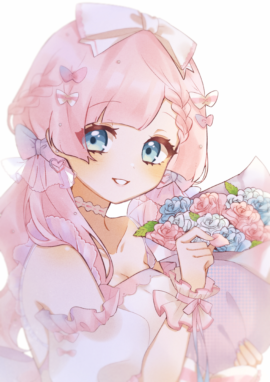 PURE LOVE Illust of Chi² April2021_Flower girl pink
