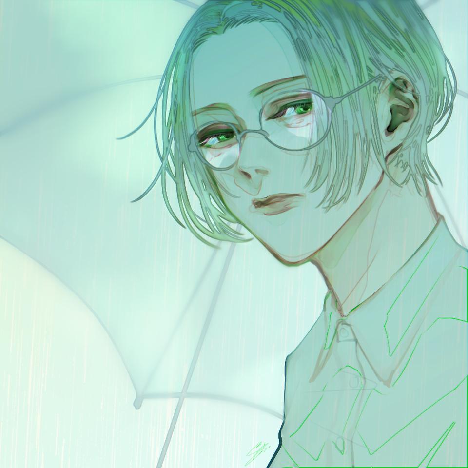 露 Illust of 八 green rain glasses boy umbrella