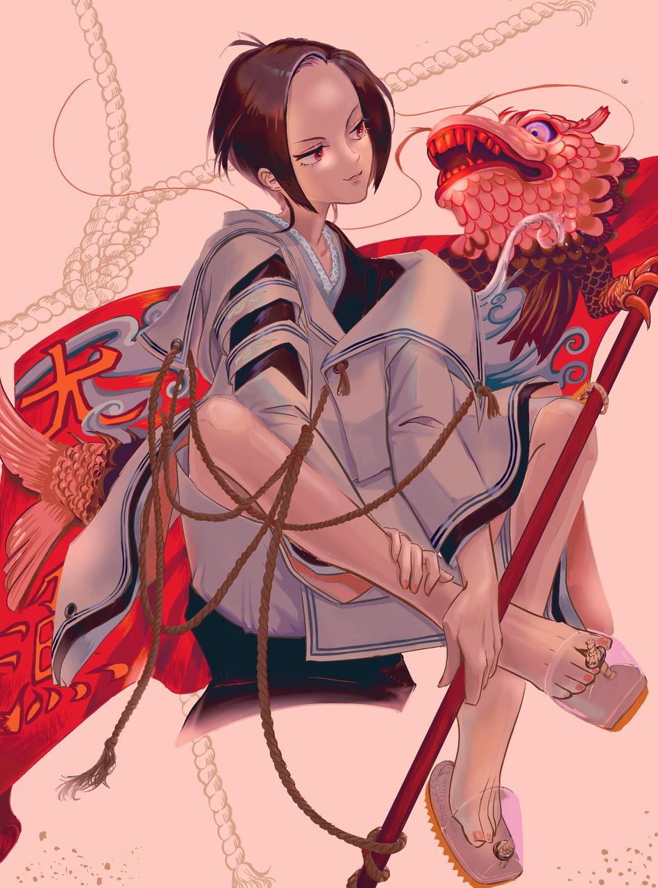 大漁旗の鬼 Illust of 創作するテリー zombie 鬼 youkai boy kimono mermaid