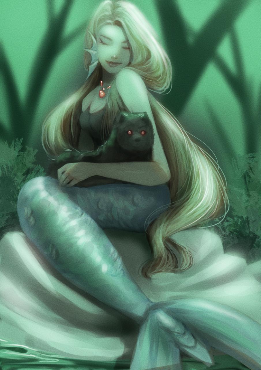Mermaid. Illust of Kimeii digitalpainting portrait collab mermaid beginner