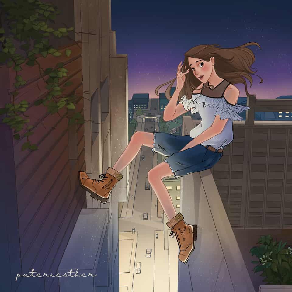 Brave in The City of Starlight.jpg Illust of puteriesther MyIdealWaifu MyIdealWaifu_MyIdealHusbandoContest digitaldrawing illustration waifu digitalpainting digital beautifulgirl