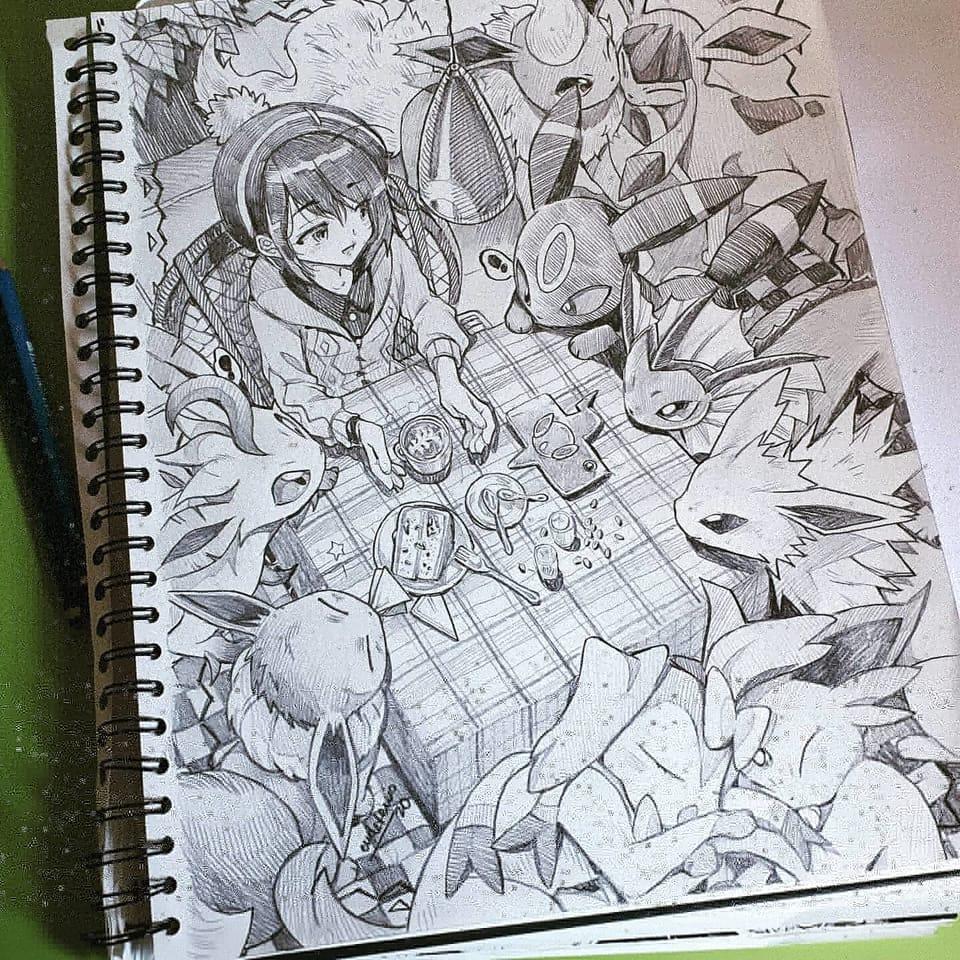 スケッチブック Illust of EUDETENIS ノート pokemon 描いた Pikachu EUDETENIS
