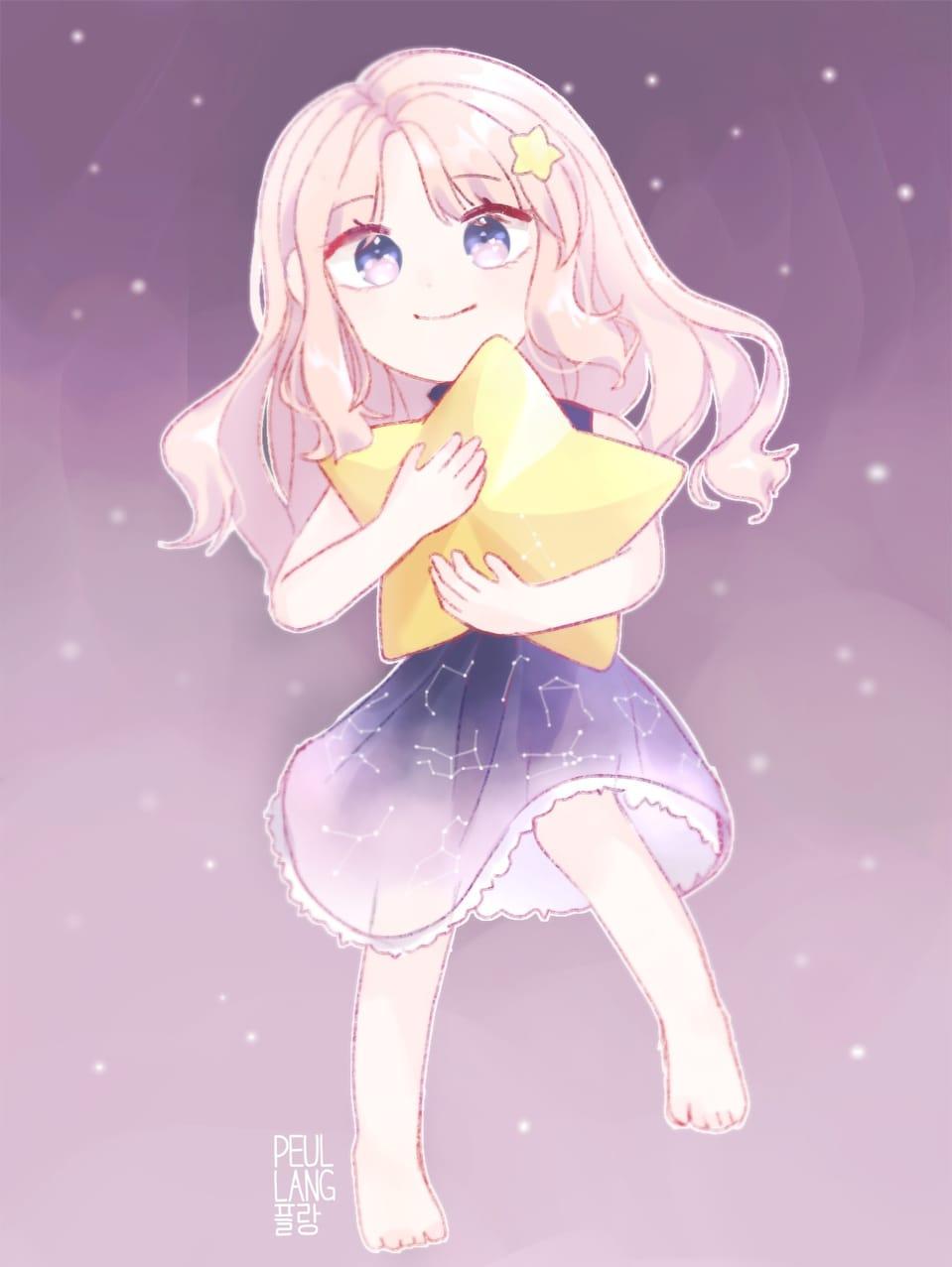 밤하늘 소녀 Illust of 플랑❦ space painting 밤하늘 illustration girl 별자리 star