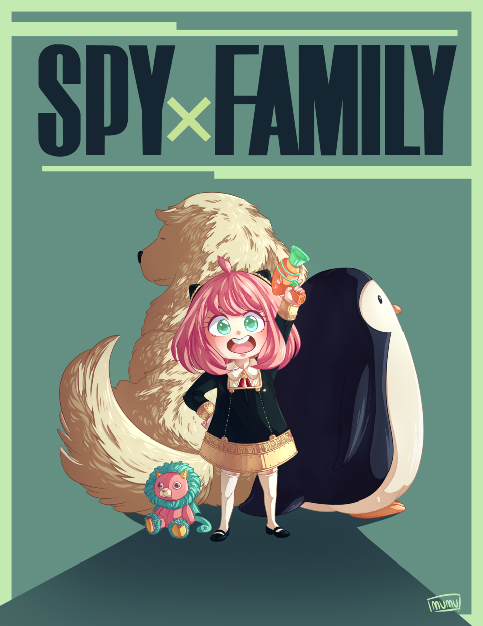 SPYXFAMILY CONTEST Illust of MUMU SPY×FAMILY_Contest digital fanart SPY×FAMILY pinguin anya dog spyxfamilyart chimera