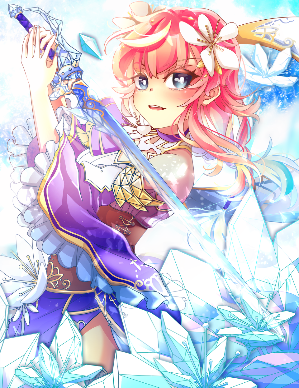 OC Illust of Akira Luca January2021_Contest:OC magic Originalart girl sword digital ice illustration pinkhair oc cute