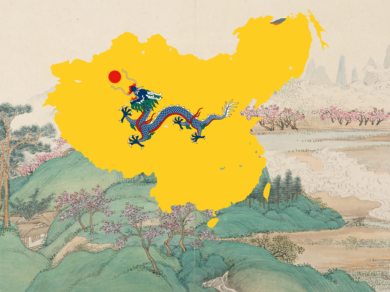 The Great Qing Dynasty 1636 1912 Flag Map Hammer Sampson Big Nibba Illustrations Art Street