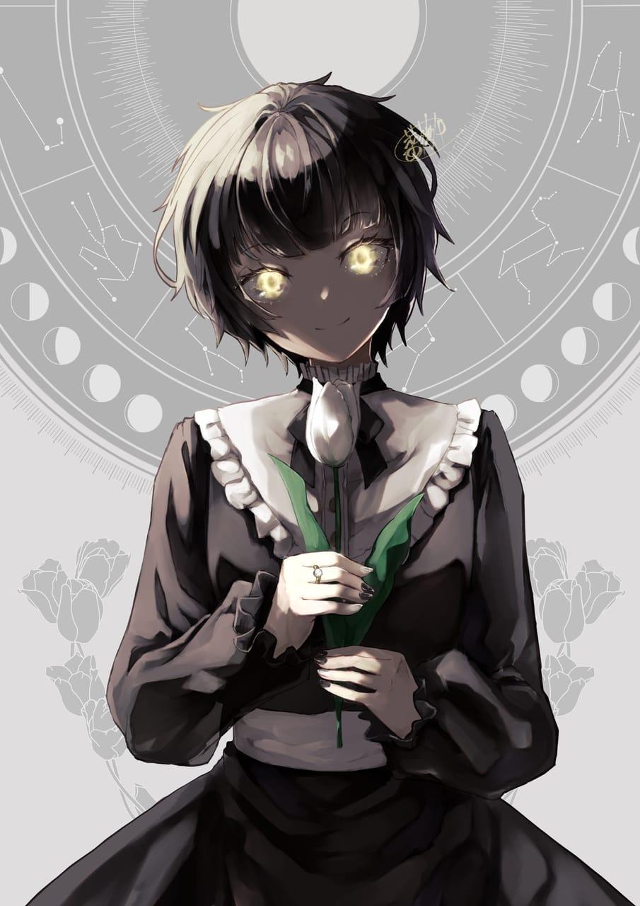 満月の瞳 Illust of 薔薇缶 黒髪 チューリップ 逆光 original moon girl ショートヘア illustration