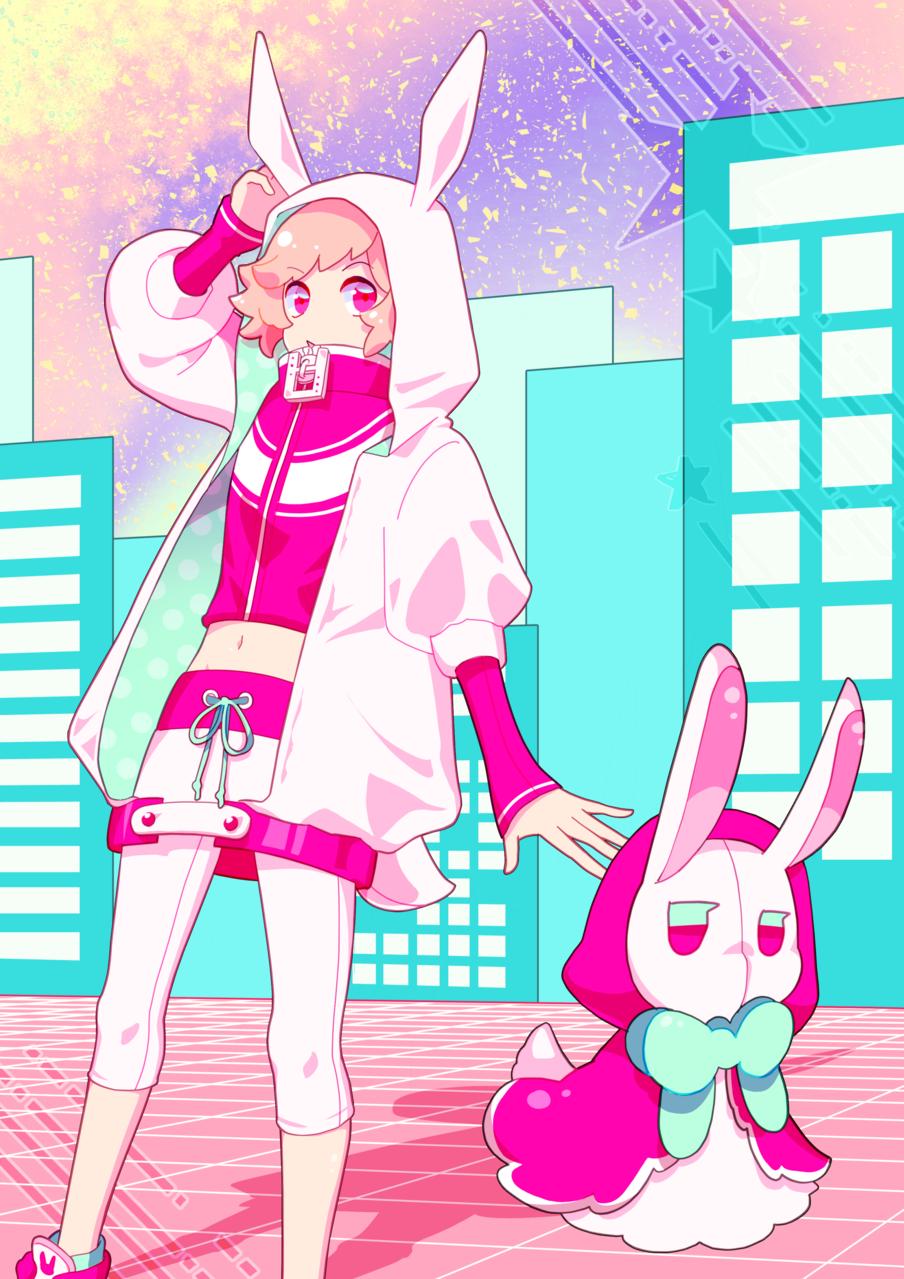 ネオンノマチヘハネマワレ Illust of 杏糖 January2021_Contest:OC rabbit boy