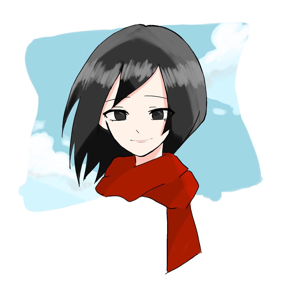 おかかうめ様のリクエスト!(ミカサ) Illust of ゆずりは medibangpaint woman マフラー AttackonTitan sky MikasaAckerman 青空