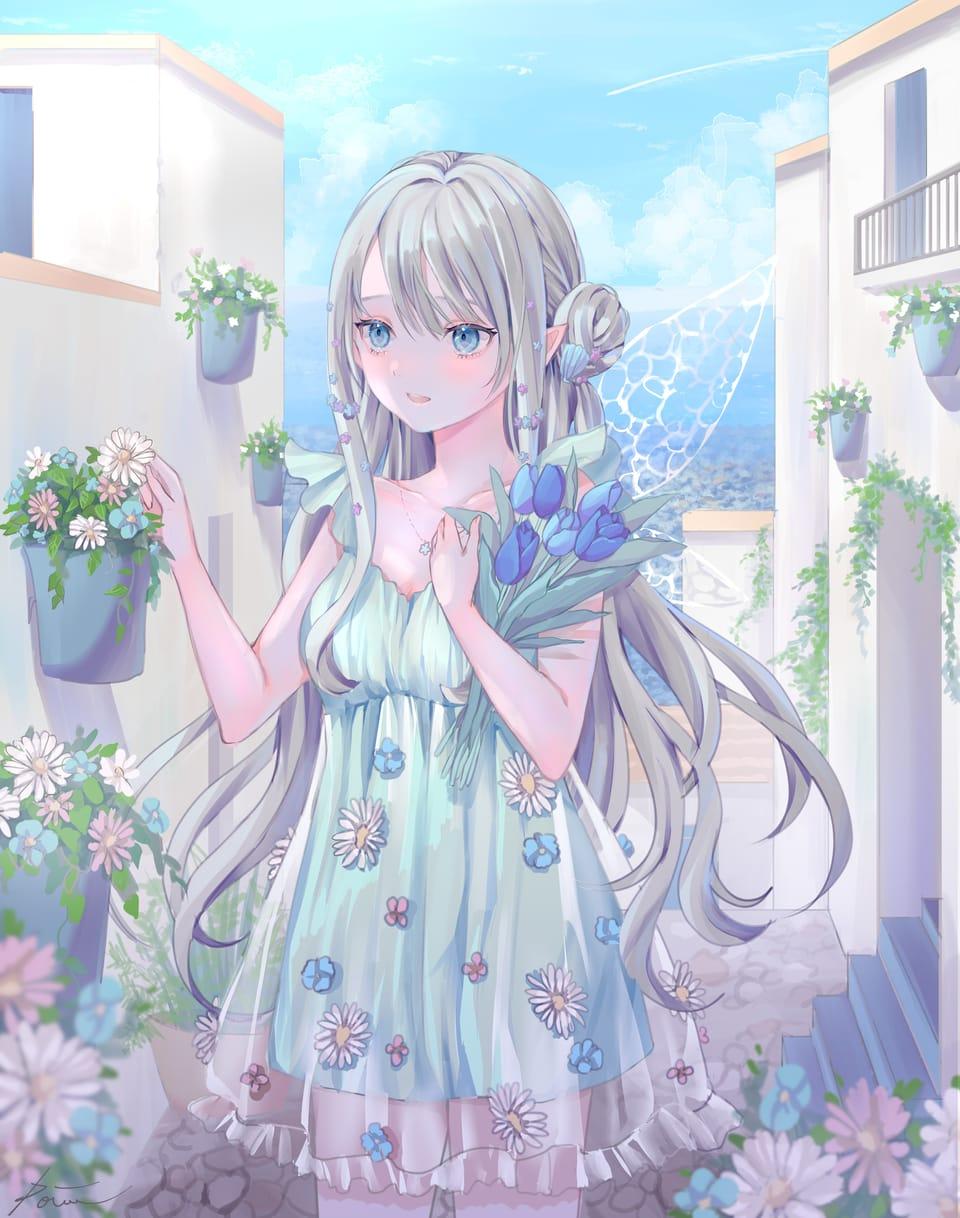 白と青の街 Illust of ぽわ oc girl kawaii digital flower