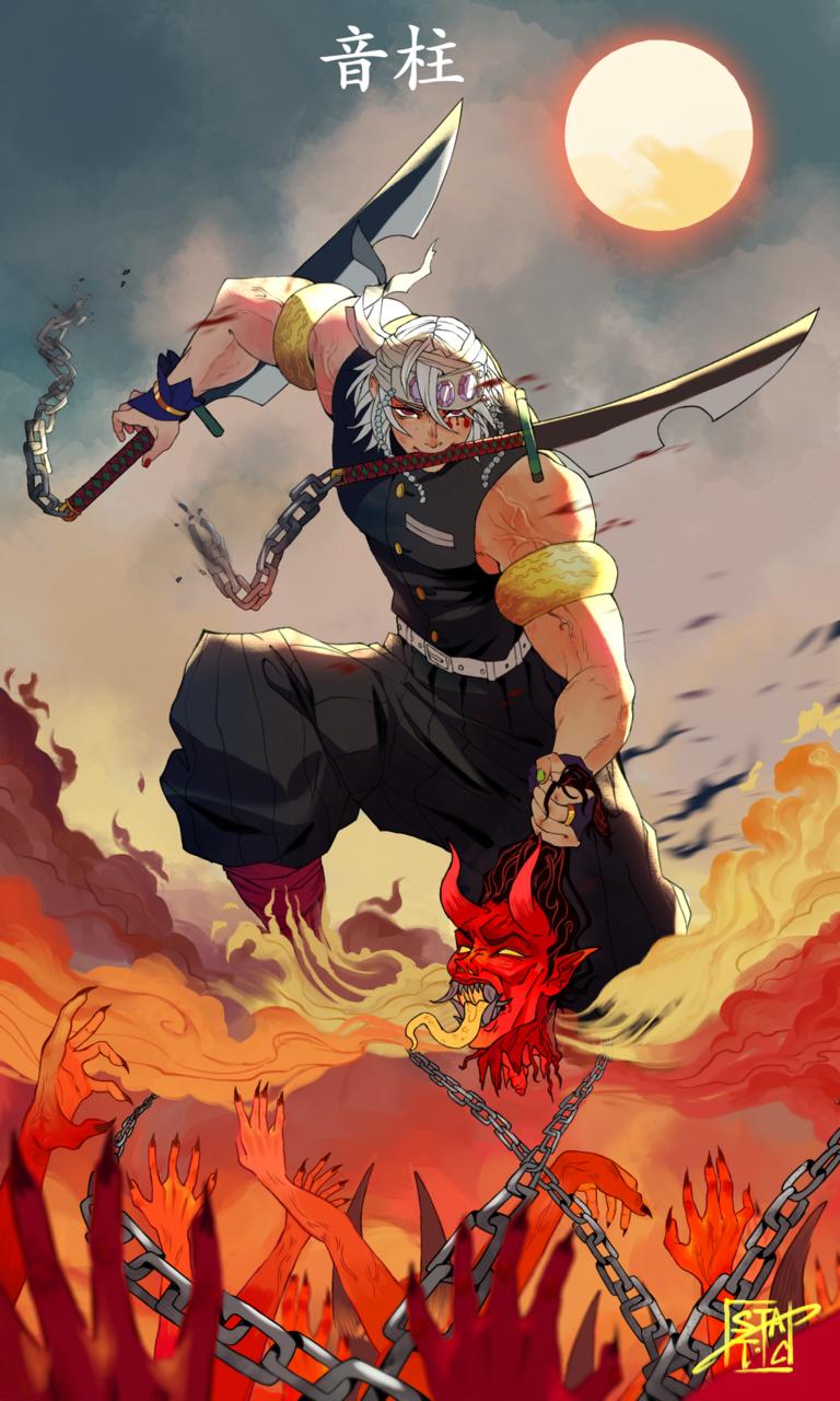 Uzui Tengen Static0rbit Illustrations Art Street Tengen lifts his twin swords above his. uzui tengen static0rbit illustrations