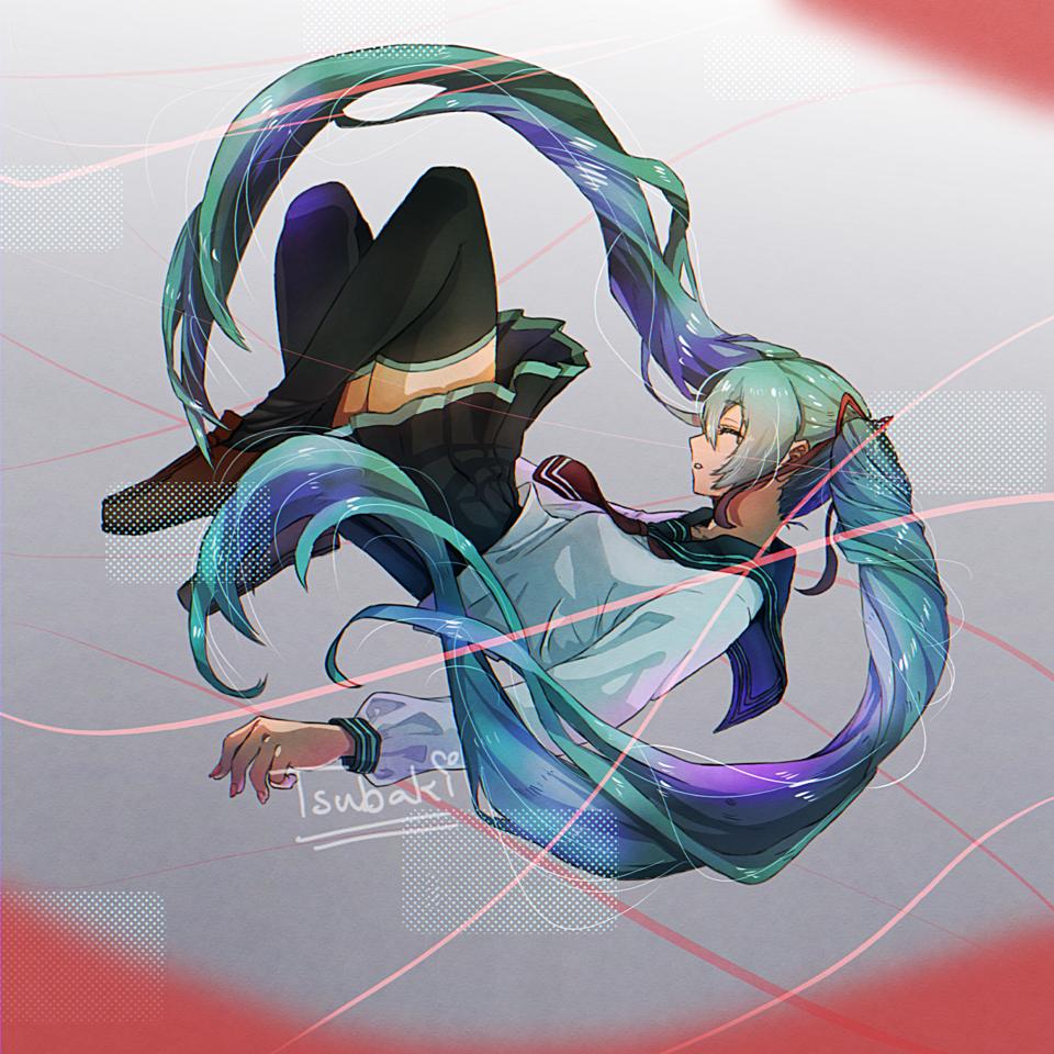 ミク Illust of SaraLuna02 hatsunemiku twin_ponytails sailor_uniform blue