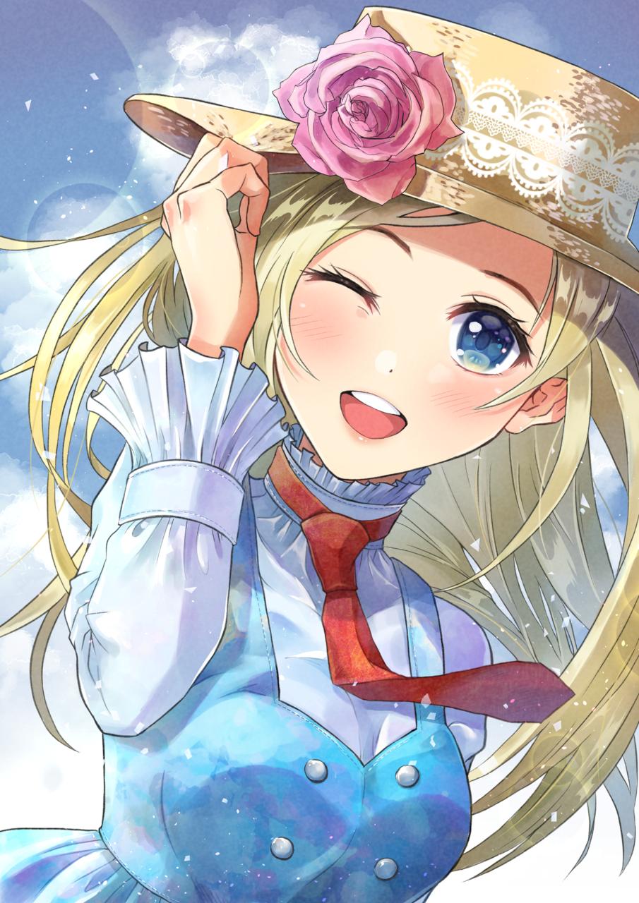 どこに出かける? Illust of あま柚子 September2021_Girl blonde girl Skeb 青空 水色 Strawhat