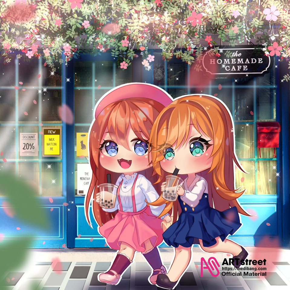 Delicious, Right? Illust of rinrinsignal ARTstreet_Ranking tracedrawing2 chibi girl bestfriends Chara cute original Trace&Draw【Official】 friend medibangpaint