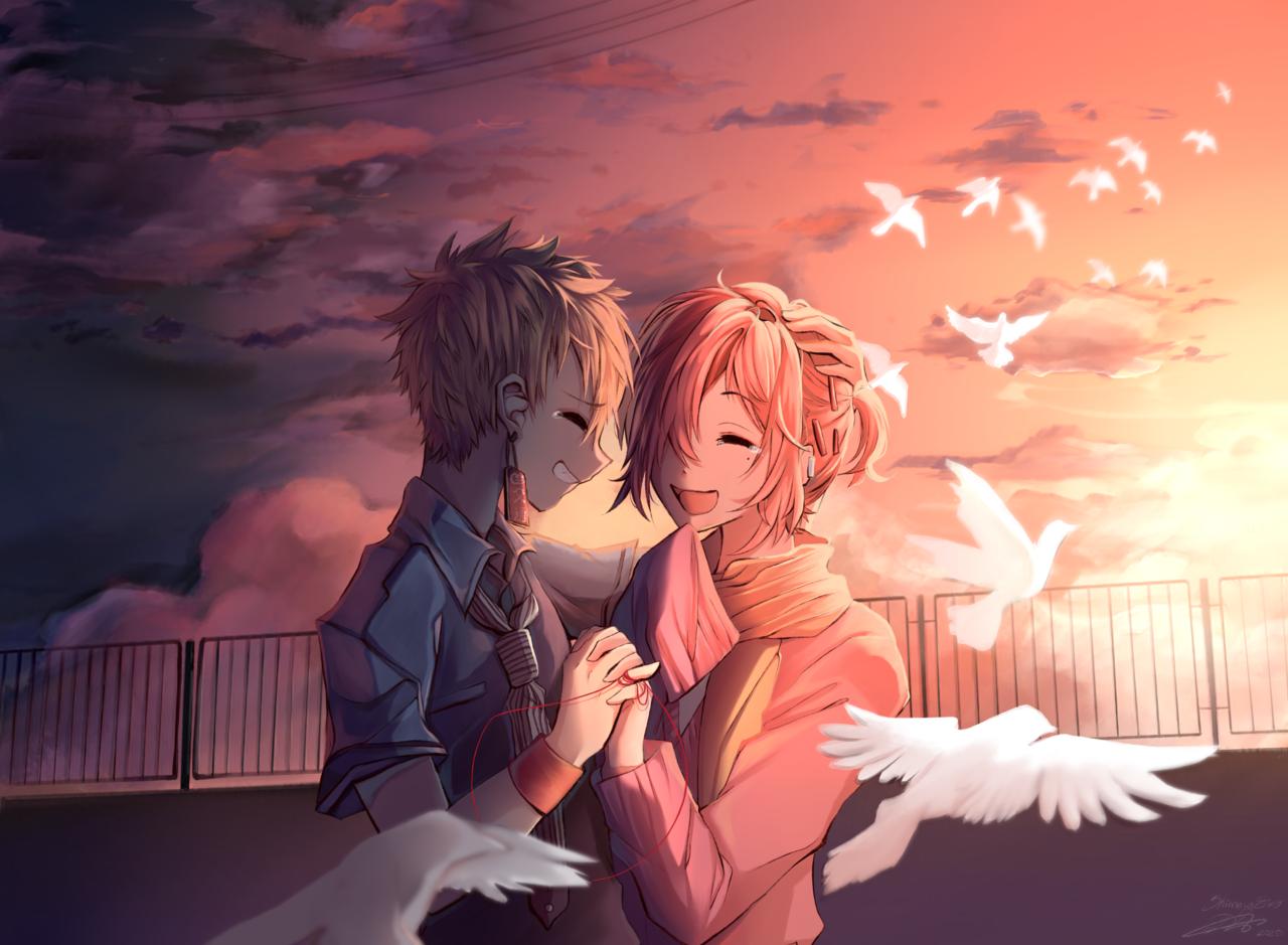 あなたとの幸せな瞬間 Illust of ShimayaEiko portrait art fanart scenery anime illustration hanakokun sunset love