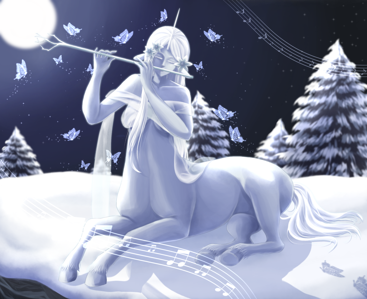 Snow Unicorn Centaur Illust of aruji-kun February2021_Fantasy March2021_Creature illustration girl oc anime music snow digital