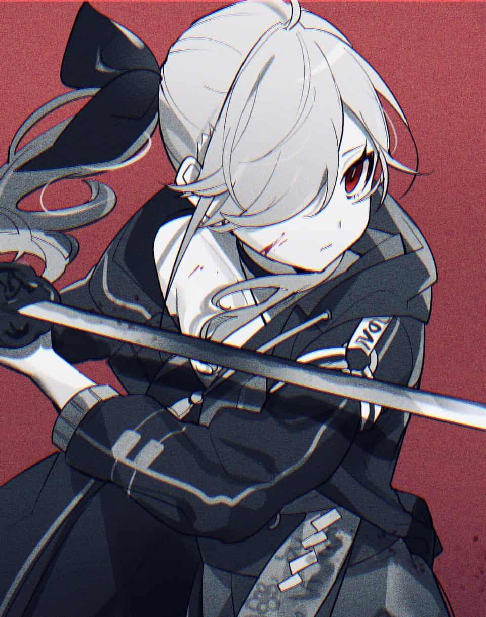 戦闘 Illust of 藻那 original girl blackandwhite 刀