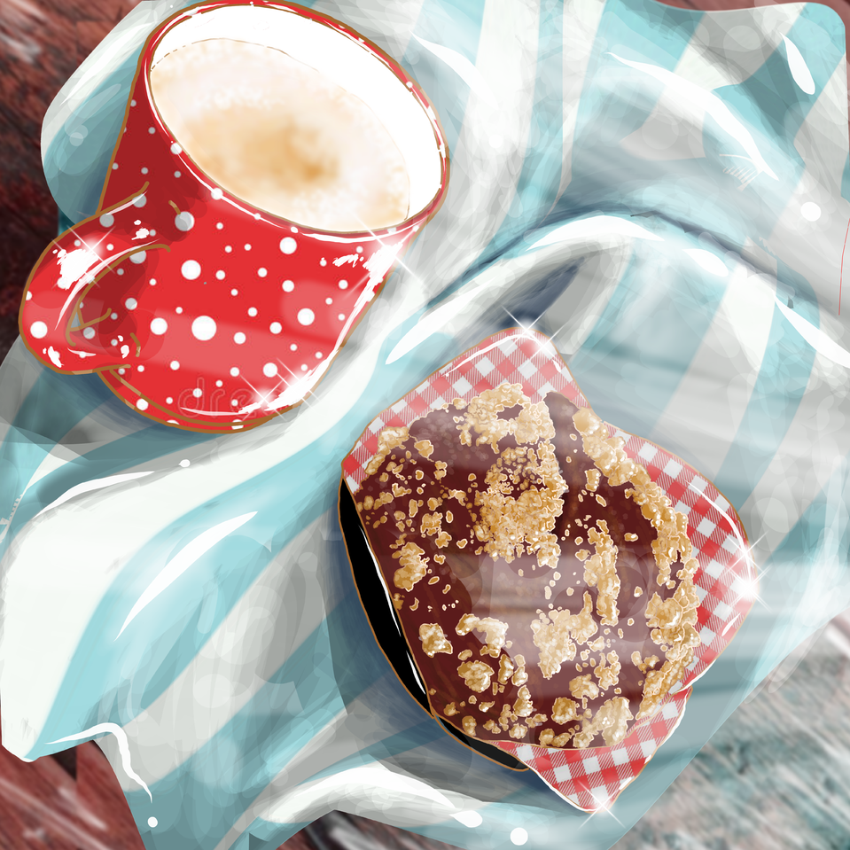 Breakfast in the Alps Illust of Chaotic Girl October2020_Contest:Food medibangpaint shiny breakfast delicious yummy towel chocolate cappuccino muffin cup