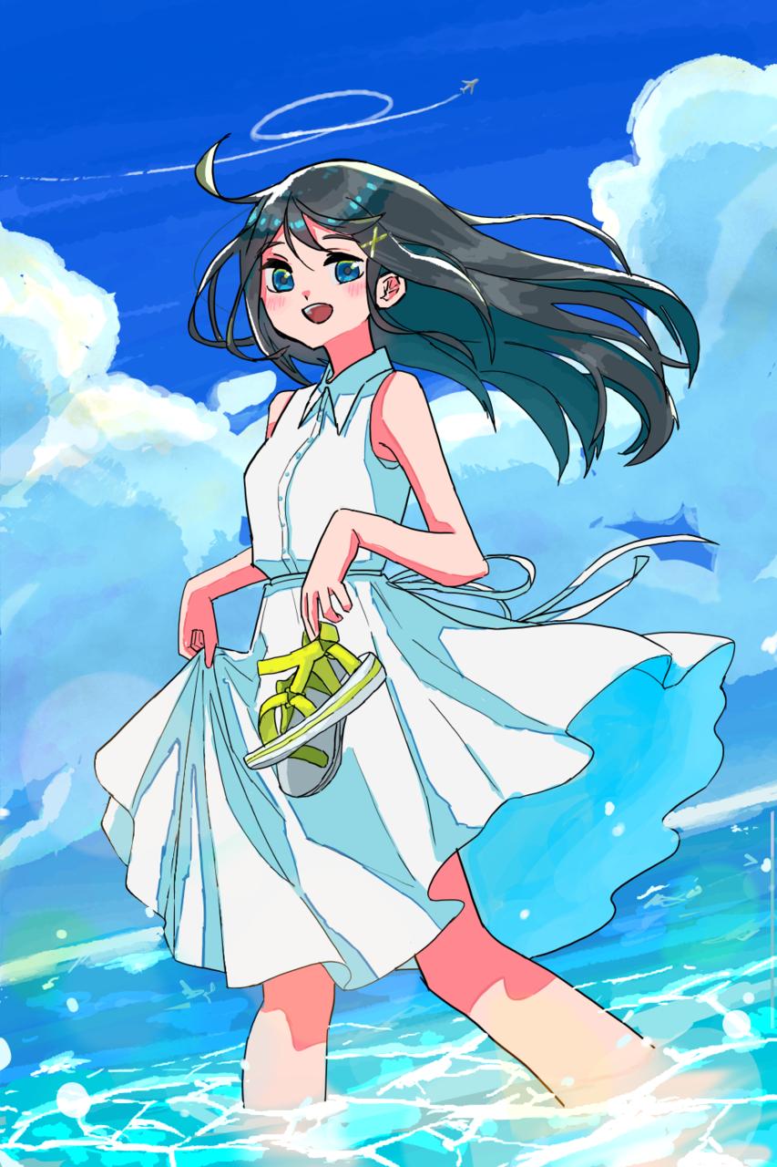 夏に降り立つ Illust of 鳩麦もよぎ medibangpaint girl sea summer