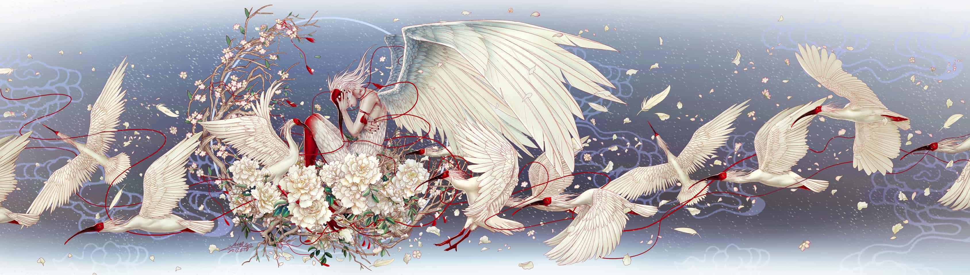 《迁徙》 Illust of 朱儿 飞鸟 flower 飘渺 风华雪月 东方意境 红线 工笔线描 朱鹮